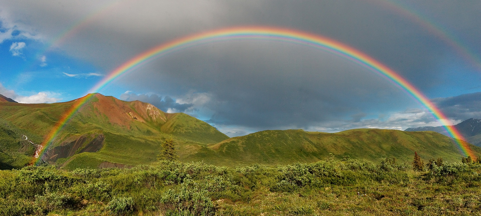 Full featured double rainbow in Wrangell-St. Elias National Park, Alaska Airbrushed (cc-by-sa-2.5). This is a retouched picture by Edg2s. Original picture by Eric Rolph. More details here: https://commons.wikimedia.org/wiki/File:Double-alaskan-rainbow-airbrushed.jpg Full featured double rainbow in Wrangell-St. Elias National Park, Alaska. By Eric Rolph (cc-by-sa-2.5)
